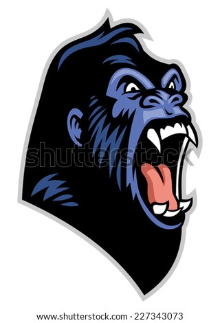 Angry gorilla head - stock vector