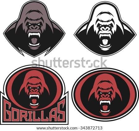 Angry gorilla symbol - stock vector