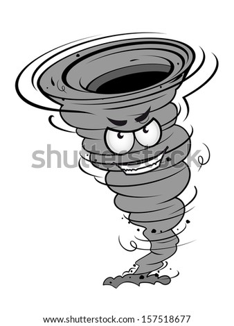 Angry hurricane disaster in cartoon mascot style for weather concept design. Jpeg version also available in gallery - stock vector