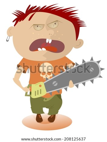 Angry kid holding a chainsaw - stock vector