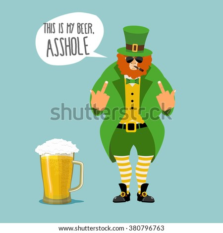 Angry leprechaun with beard. Bad leprechaun shows fuck. It's my beer, asshole. Dwarf bully with a cigar. Green cloak and old shoes. Striped leggings. Big mug of beer with foam. St. Patrick's Day  - stock vector