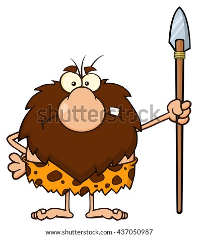 Angry Male Caveman Cartoon Mascot Character Standing With A Spear. Vector Illustration Isolated On White Background - stock vector