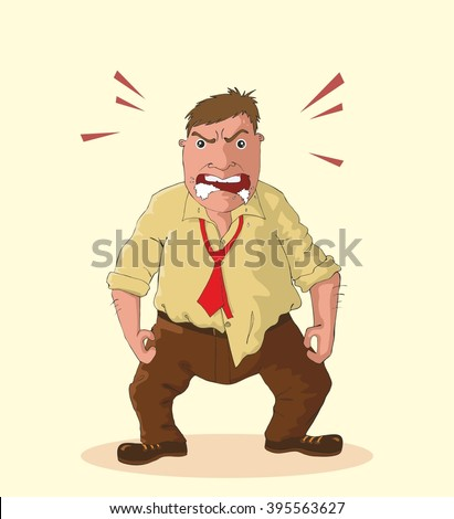 Angry man foaming at the mouth idiom, vector illustration - stock vector