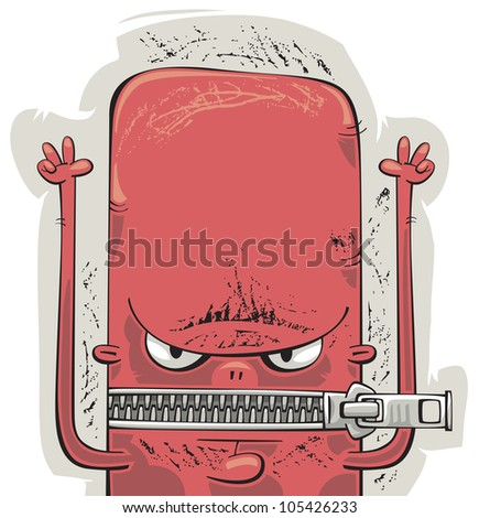Angry man with zipped mouth and big red face protesting - stock vector
