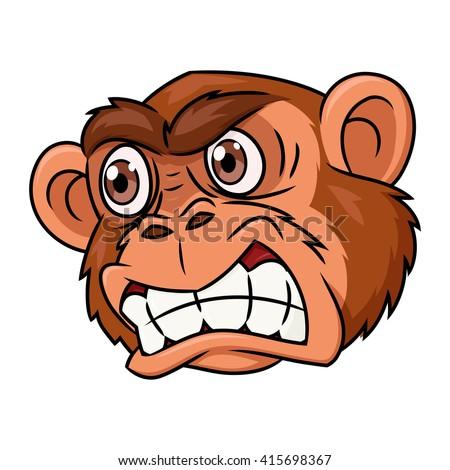Angry monkey head - stock vector