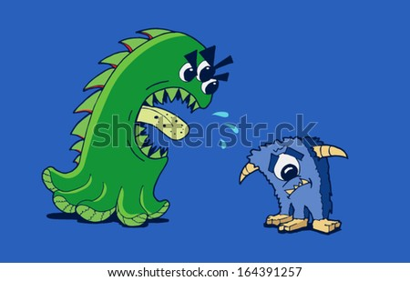 Angry monster shouting at scared monsters - stock vector