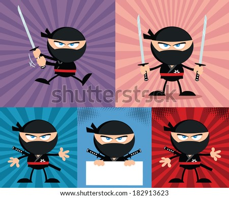 Angry Ninja Warrior  Cartoon Characters 4.Flat Design. Vector Collection Set - stock vector