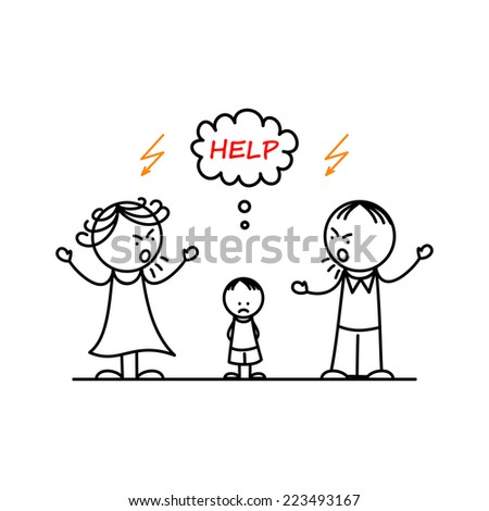 Angry parents and sad boy - stock vector