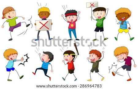 Angry people doing different things at the protest - stock vector