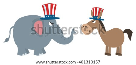 Angry Political Elephant Republican Vs Donkey Democrat. Vector Illustration Flat Design Style Isolated On White - stock vector