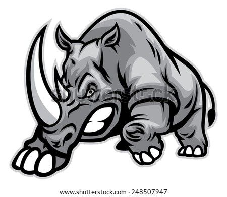 Angry rhino ready to ram - stock vector