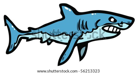 Angry shark illustration - stock vector