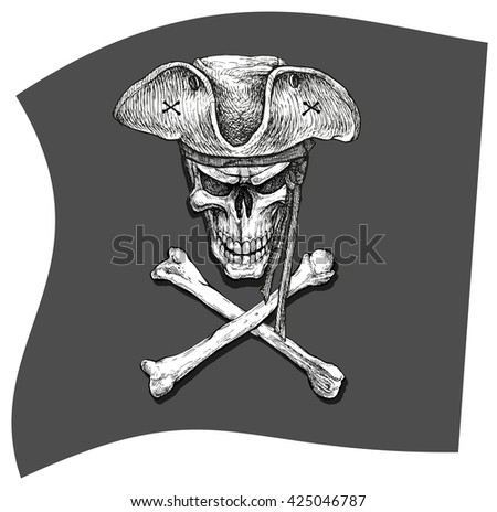 Angry skull and crossbones on pirate flag - hand drawn vector illustration, isolated on white - stock vector