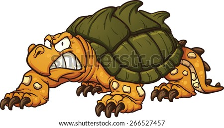 Angry snapping turtle. Vector clip art illustration with simple ...