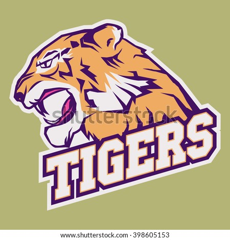 Angry Tiger Sport team emblem, wild big cat head. Aggressive Tiger cat, Tiger with bared teeth, Tiger in cartoon style, Tigers t-shirt print design - stock vector
