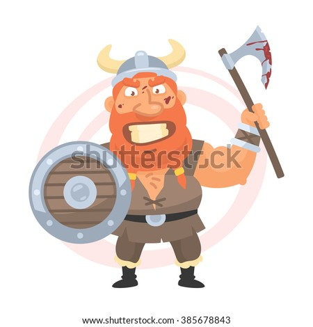 Angry viking holds an axe - stock vector