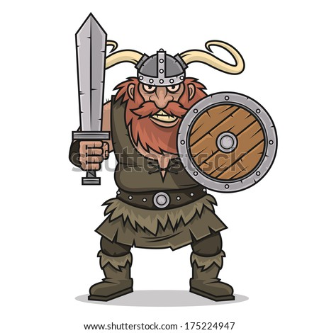 Angry Viking stand with sword and shield - stock vector