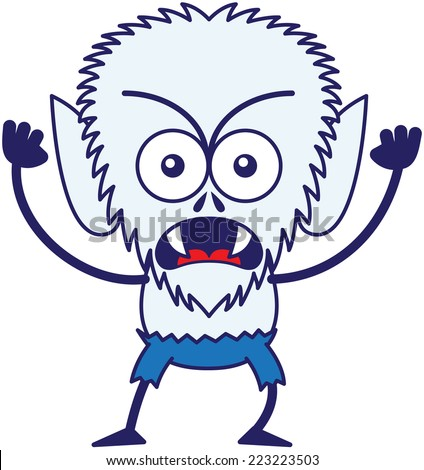 Angry werewolf with big head, bulging eyes, blue pants, blue fur and sharp fangs while frowning, staring at you, yelling, clenching its fists in a very irritated mood - stock vector