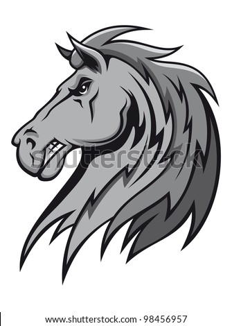 Angry wild stallion in cartoon design for mascot or equestrian sports design, such  a logo. Jpeg version also available in gallery - stock vector