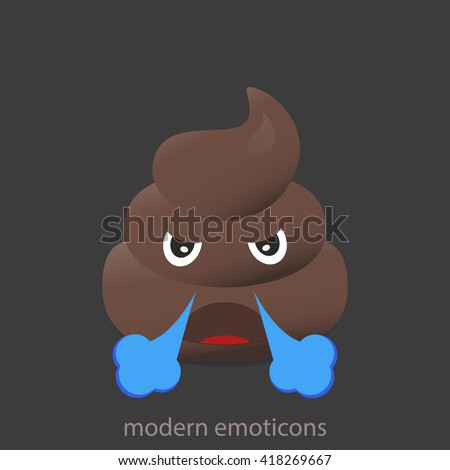 Angry with smoke poo icon. Shit emoticons. Poop emoji face isolated.  - stock vector