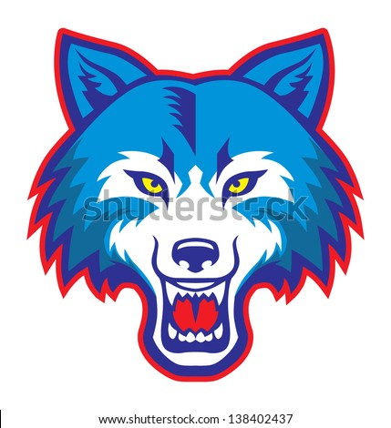 angry wolf head mascot - stock vector
