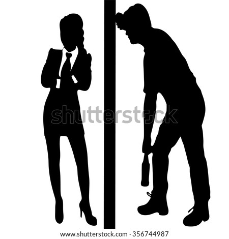 angry woman with crossed arms, Silhouette of a man with a beer bottle, drunk man - stock vector