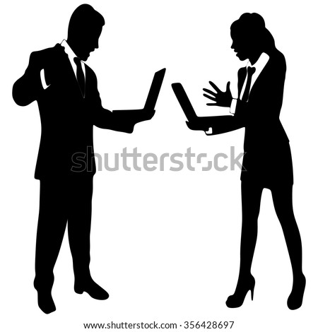 angry young businesswoman and business man yelling - stock vector