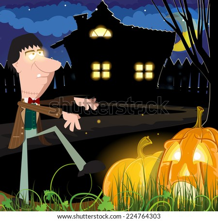 Angry zombie and Jack o lanterns near the haunted house. Abstract Halloween background - stock vector