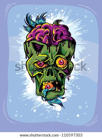 Angry zombie character with eye in it's mouth. Halloween poster - stock vector