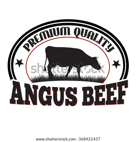 Angus beef label or stamp on white background, vector illustration - stock vector