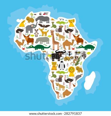 Animal Africa: parrot Hyena Rhinoceros Zebra Hippopotamus Crocodile Turtle Elephant Mamba snake camel mosquito tsetse ostrich lemur Chameleon Monkey Fennec Leo Leopard Giraffe buffalo Penguin. Vector - stock vector
