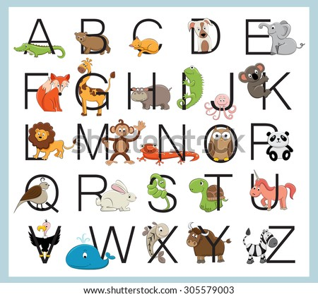 Animal alphabet - stock vector