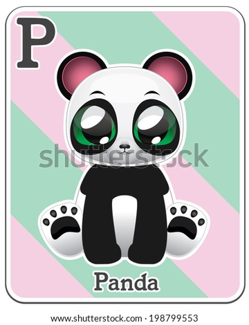 Animal alphabet card ( P is for Panda ) - stock vector