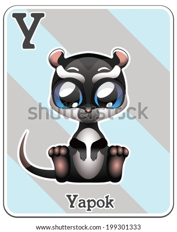 Animal alphabet card ( Y is for Yapok ) - stock vector