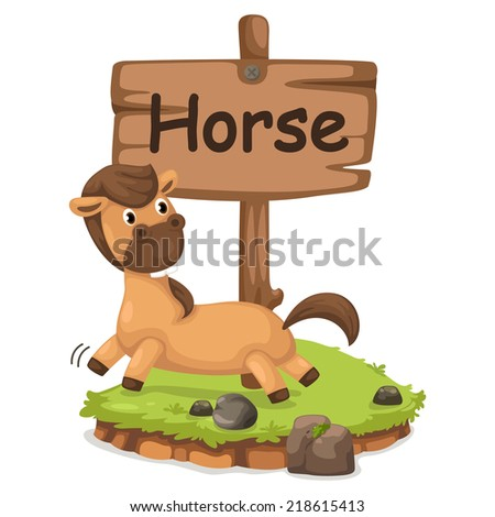 animal alphabet letter H for horse illustration vector - stock vector