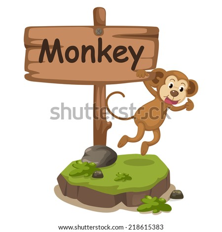 animal alphabet letter M for monkey illustration vector - stock vector