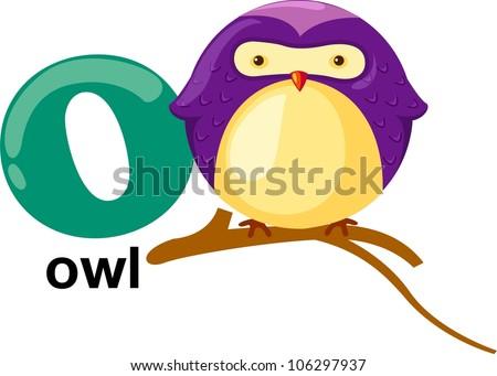 Animal alphabet letter - O - stock vector