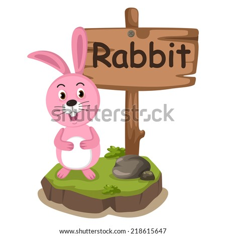 animal alphabet letter R for rabbit illustration vector - stock vector