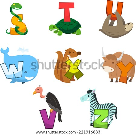 Animal alphabet with letter  snake turtle bear whale squirrel, zebra, vulture, letter s, t, u, w, x, y, v, z - stock vector