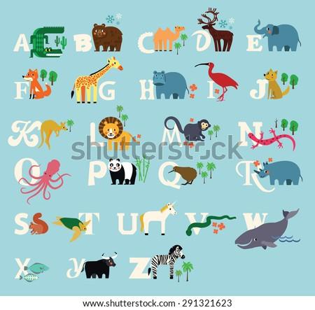 Animal Alphabet. Zoo alphabet . - stock vector