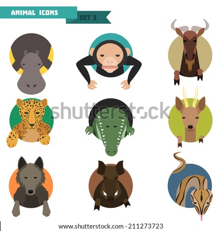 Animal avatars set with flat design. Vector Illustration - stock vector