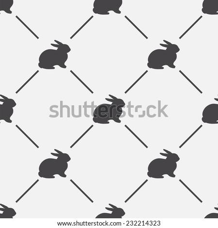 Animal background. Retro rabbit seamless pattern - vector illustration. - stock vector