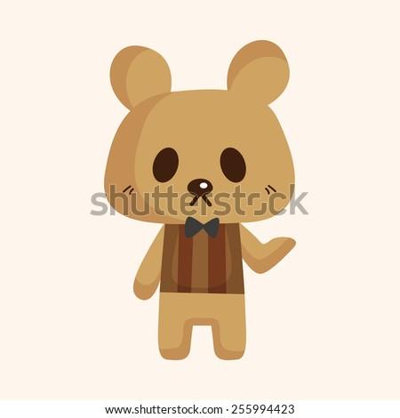 animal bear waiter cartoon theme elements - stock vector