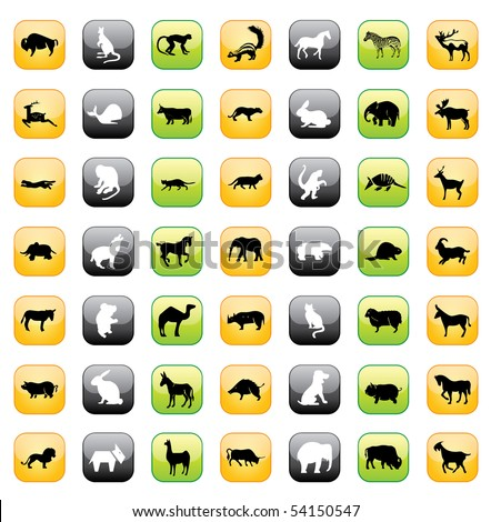 Animal Buttons - stock vector