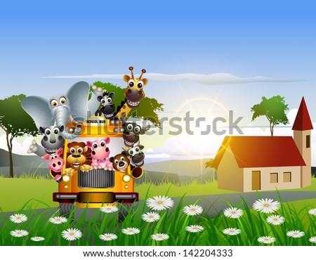 animal cartoon on yellow car and nature background - stock vector