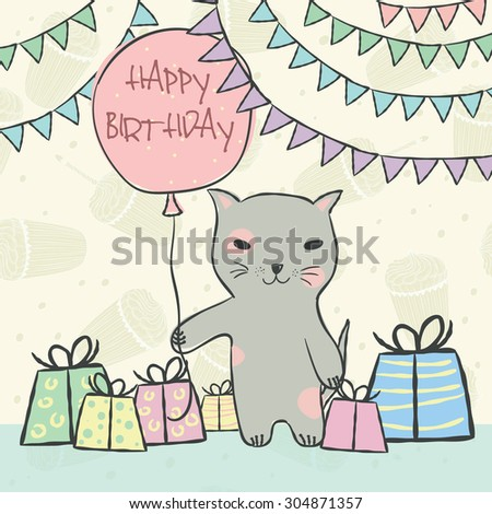 Animal cat with pink balloon, gifts, garlands on seamless pattern with birthday cupcakes and a candle for invitation, birthday cards Vector illustration eps10 - stock vector
