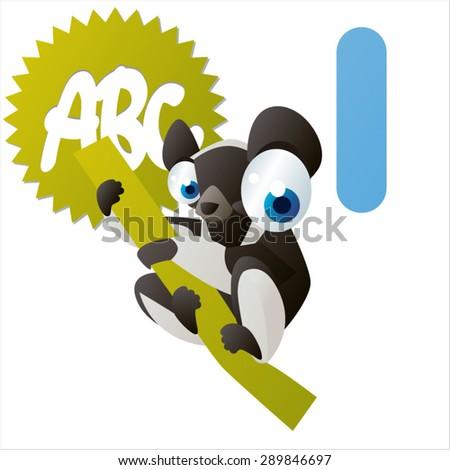 animal children alphabet: I is for Indri - stock vector
