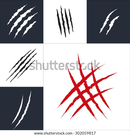 Animal claw scratches collection set, isolated vector illustration - stock vector