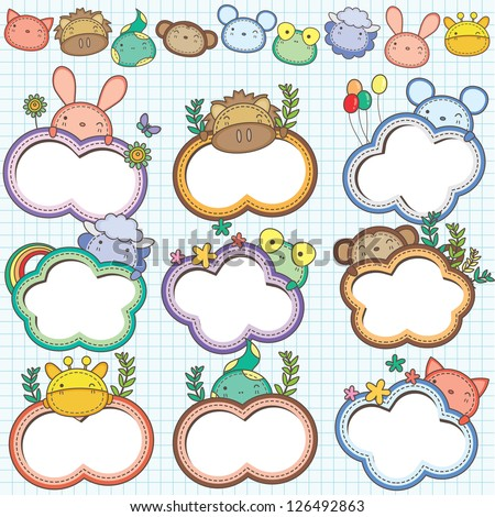 Animal Cloud Frames Set 1 (More animal frames are available) - stock vector