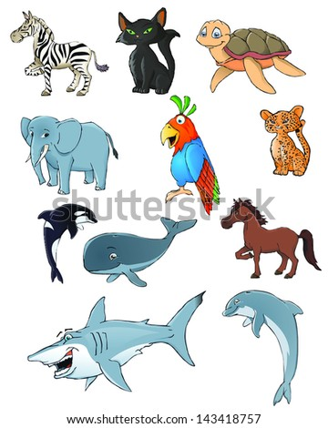 animal collection - stock vector